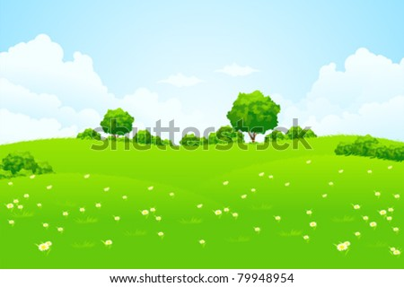 Green Landscape with trees clouds flowers and hills - stock vector