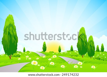 Green Landscape with trees clouds flowers and Road