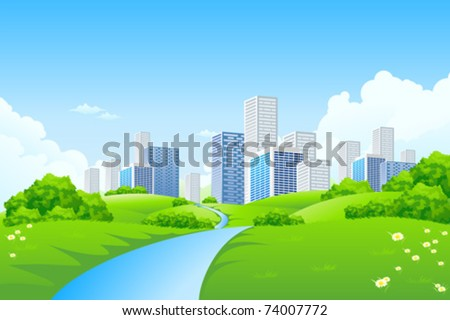 Green landscape with trees river and city - stock vector