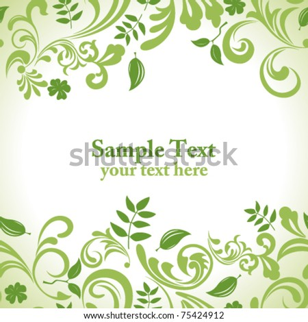 Green leaf background. Illustration vector. - stock vector