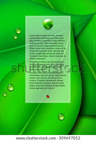 Green Leaf Background with Text Panel and Green World - Green Leaf Page Design, Environmental Background - stock vector