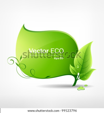 Green leaf concept ecology. vector illustration - stock vector