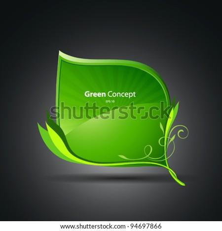 Green leaf concept vector illustration - stock vector