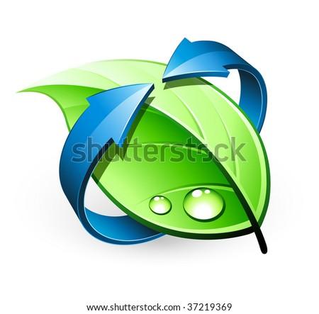 Green leaf design - stock vector