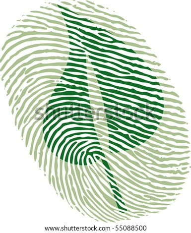 green leaf fingerprint - stock vector
