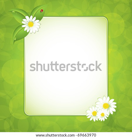 Green leaf frame illustration with flowers - stock vector