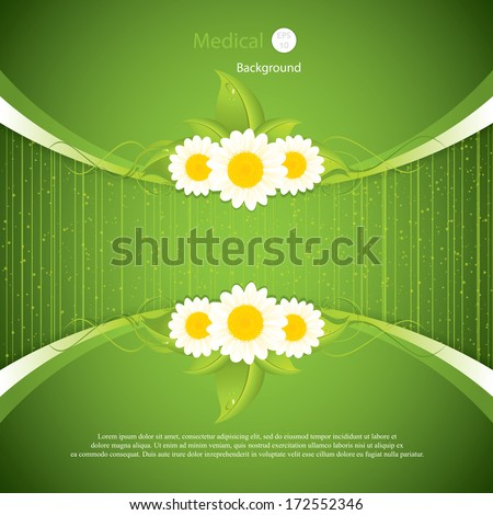 Green leaf frame illustration with flowers.Vector - stock vector