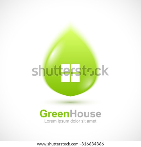 Green leaf house concept icon. - stock vector