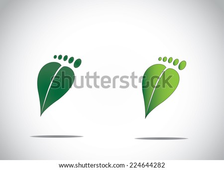 green leaf human foot environment friendly carbon footprint abstract image icon - stock vector