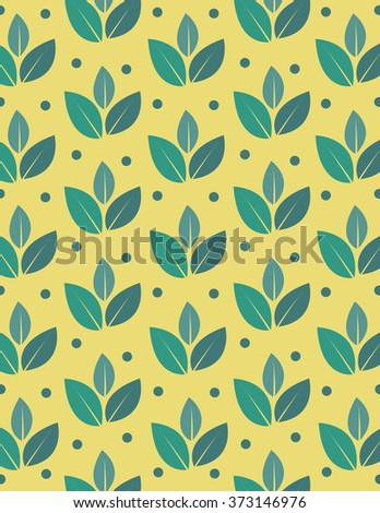 Green leaf repeating pattern over yellow background - stock vector