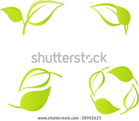 Green leaf set - stock vector