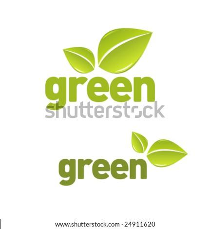Green leaf set vol3 - stock vector
