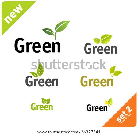 Green leaf set vol5 - stock vector
