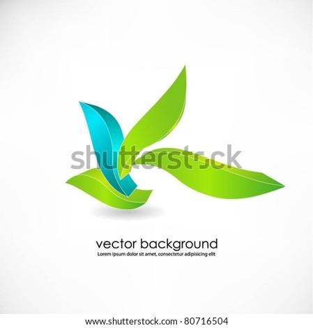 green leaf symbol - stock vector
