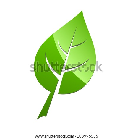 Green leaf symbol isolated on white background vector illustration. - stock vector