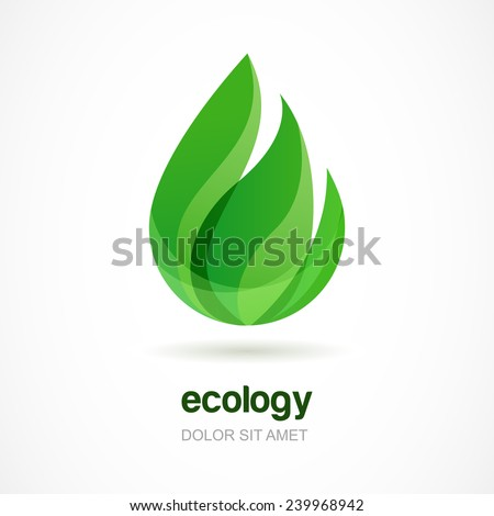 Green leaf vector logo template. Abstract design concept for eco technology theme. Ecology icon.