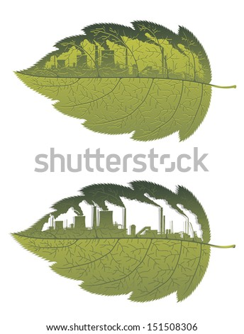 Green leaf with factory building for environment, ecology or pollution on nature concept. Jpeg (raterized) version also available in gallery - stock vector