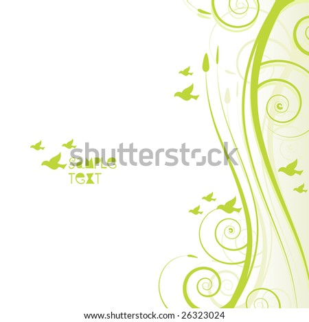 Green leafy banner with text space and birds flying in the background