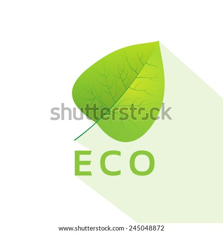 green leave eco flat icon vector illustration - stock vector