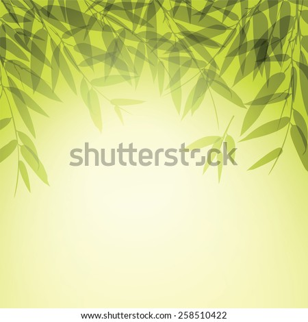 Green leaves at sunset time. Vector illustration. - stock vector