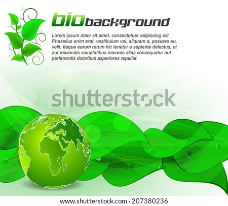 Green leaves bio background with globe/design with place for your content