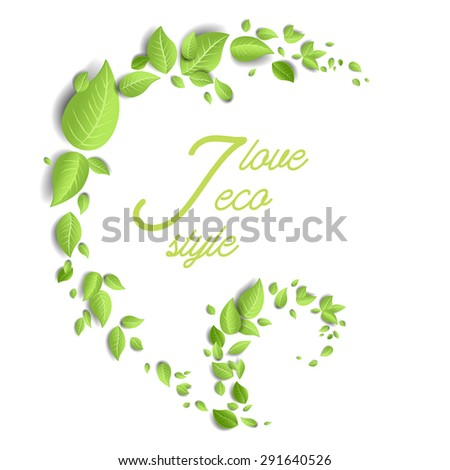 Green leaves eco design with place for text. - stock vector