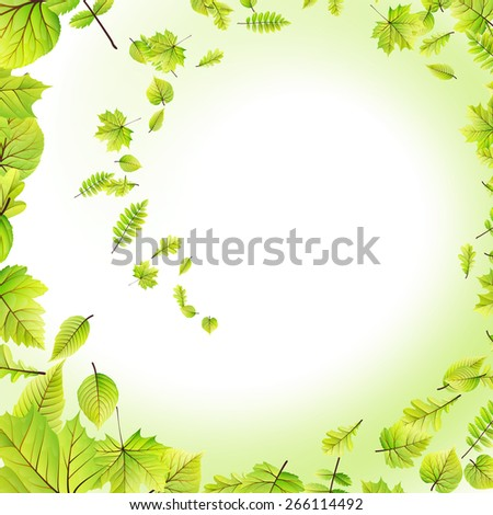 Green leaves frame isolated on white background. EPS 10 vector file included - stock vector