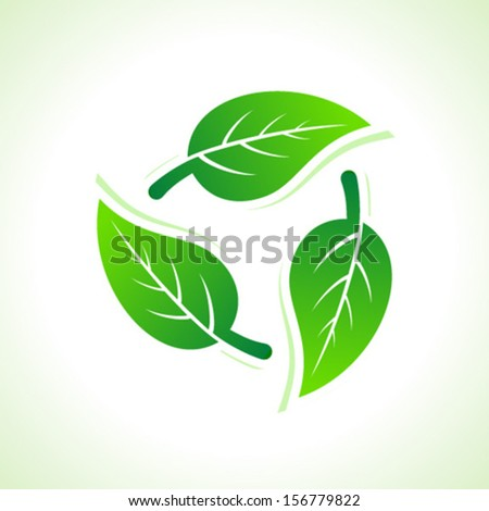 Green leaves make a recycle icon stock vector - stock vector