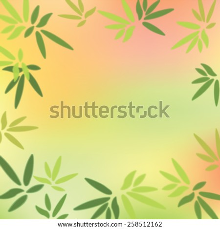 Green leaves on colorful background. Vector illustration. - stock vector