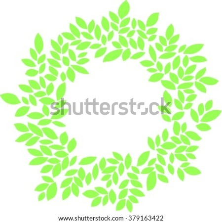 green leaves on white spring rustic ecology organic decor decoration design ornament  forest greenery wreath vector - stock vector