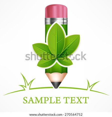 Green leaves pencil on white end text, vector illustration - stock vector