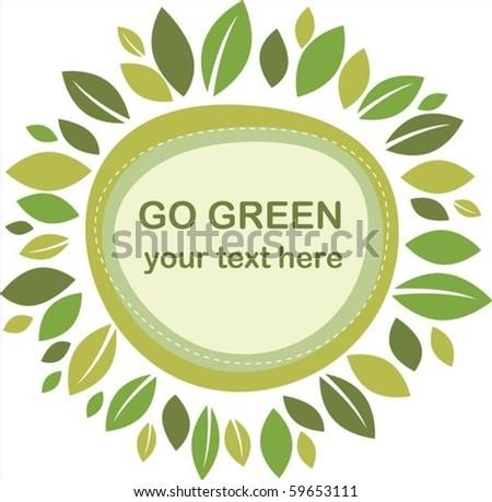 Green leaves retro frame - stock vector