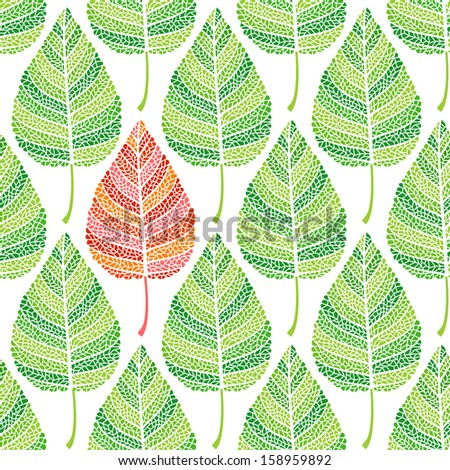 Green leaves seamless background - stock vector