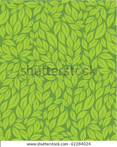 Green leaves seamless pattern - stock vector