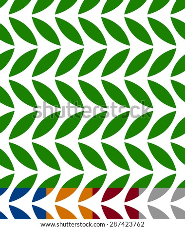 Green leaves seamless pattern. 3 color and gray version included. Repeatable. - stock vector