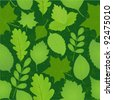 green leaves seamless pattern. Vector image - stock vector