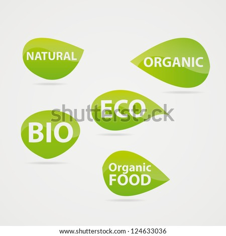 Green leaves stickers on the bio theme - stock vector