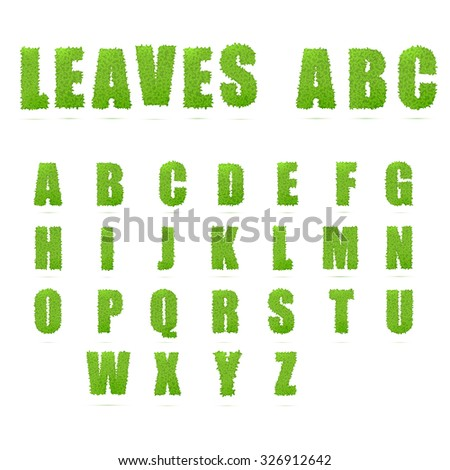 Green Leaves uppercase letters font. Vector illustration.