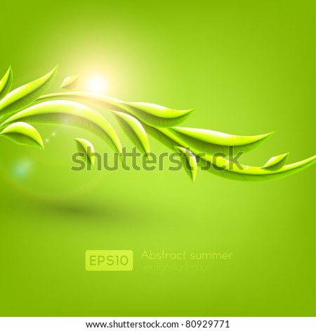 Green leaves. Vector background Eps 10.