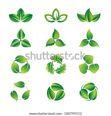 Green leaves vector icon set - stock vector