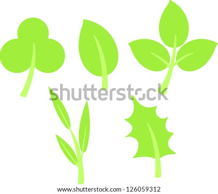 green leaves. Vector illustration  on white background
