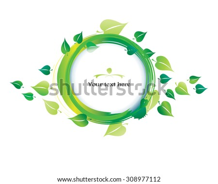 Green leaves - watercolor circle frame. Vector illustration. Grunge paint round frame with green leaf. Watercolor brush strokes and splashes. Spring, summer concept. Isolated in white.Eps 10. - stock vector