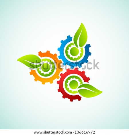 Green leaves with gear - stock vector