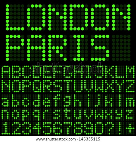 Green LED Letters and Numbers