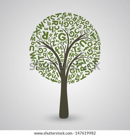 Green Letter Tree EPS10 Vector  - stock vector