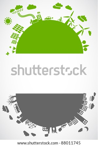 green life vs. pollution - with space for your text - A format - sustainable development concept - stock vector