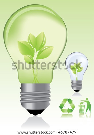 Green light bulb and ecology icons / eco concept - stock vector