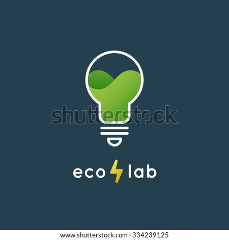 Green Light Bulb Logo Design Template For Renewable Energy Card Alternative