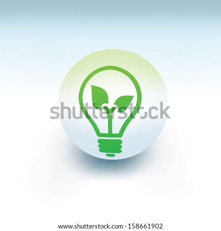 green light bulb on white ball, 3d like vector