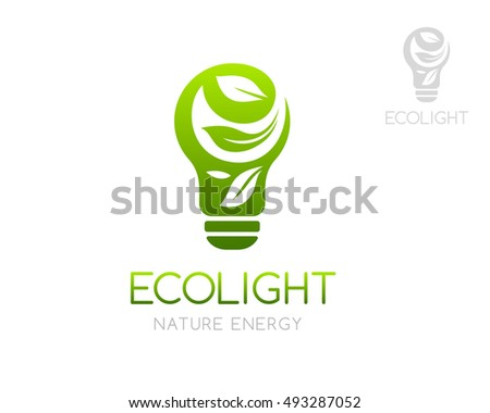 Green Light Bulb With Laves Ornament Logo Template Concept For Organic Product Store